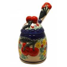 Cherry Jam Jar with Spoon